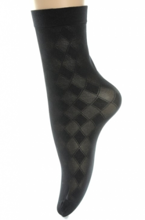 Dámske silónové ponožky - šachovnica