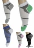 Kotníkové ponožky - biel , farebná päta zelená