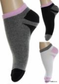 Kotníkové ponožky - čierne a ružový pás