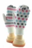 Palcové pletené rukavice - bodky