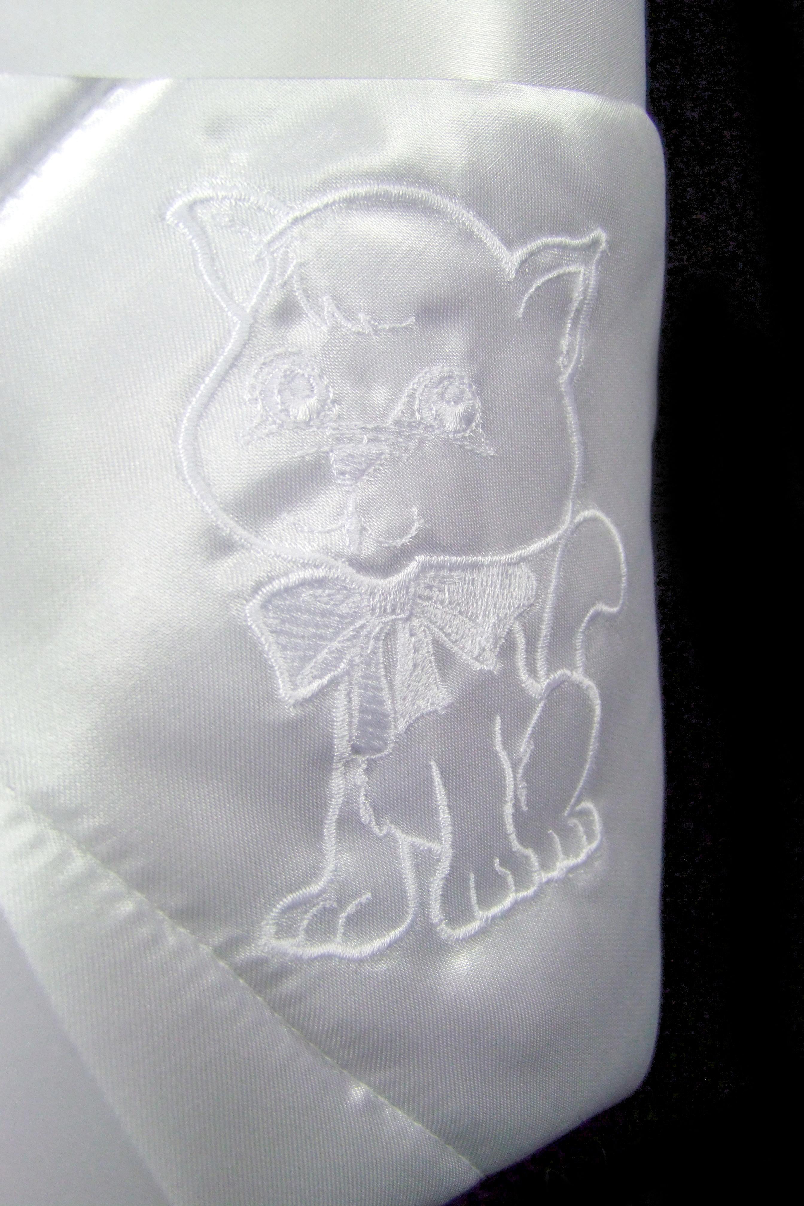 Rožok saténový biely - mačka s mašličkou vypjk18012018 059cad3e524